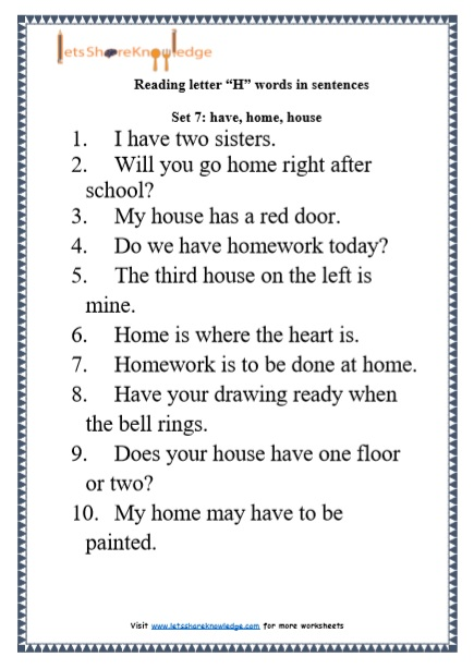 "Kindergarten Reading Practice for Letter ""H"" Words in Sentences Printable Worksheets"