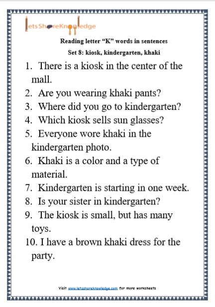 "Kindergarten Reading Practice for Letter ""K"" Words in Sentences Printable Worksheets"