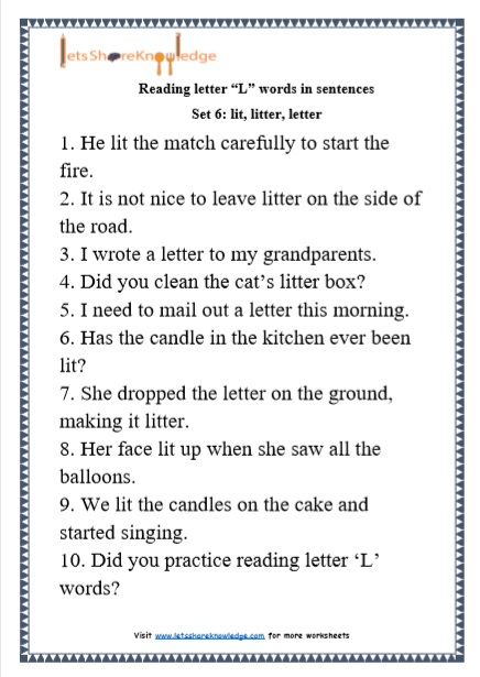 "Kindergarten Reading Practice for Letter ""L"" Words in Sentences Printable Worksheets"