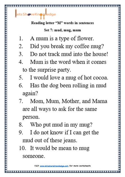 "Kindergarten Reading Practice for Letter ""M"" Words in Sentences Printable Worksheets"