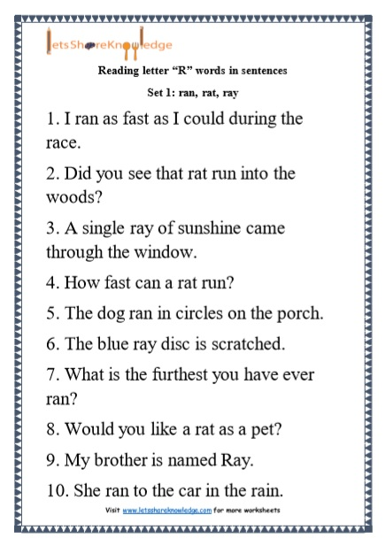 Set 1 Kindergarten Reading Practice For Letter U201cRu201d Words In Sentences Printable Worksheets Worksheet