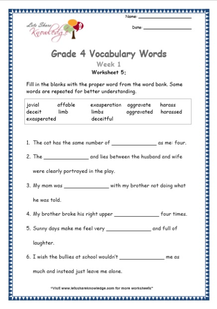 Grade 4: Vocabulary Worksheets Week 1