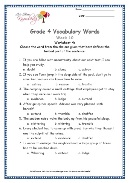 Grade 4: Vocabulary Worksheets Week 10