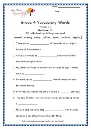 Grade 4: Vocabulary Worksheets Week 13