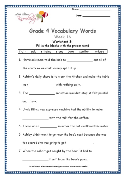 Grade 4: Vocabulary Worksheets Week 16