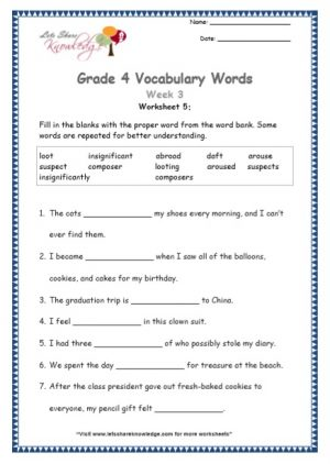 Grade 4: Vocabulary Worksheets Week 3