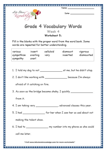 Grade 4: Vocabulary Worksheets Week 4