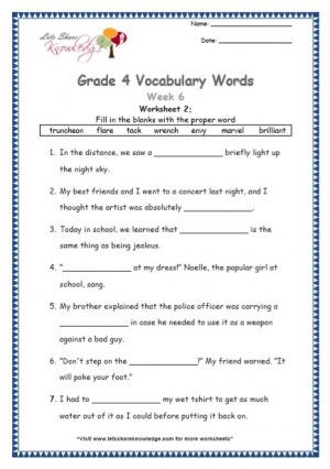 Grade 4: Vocabulary Worksheets Week 6
