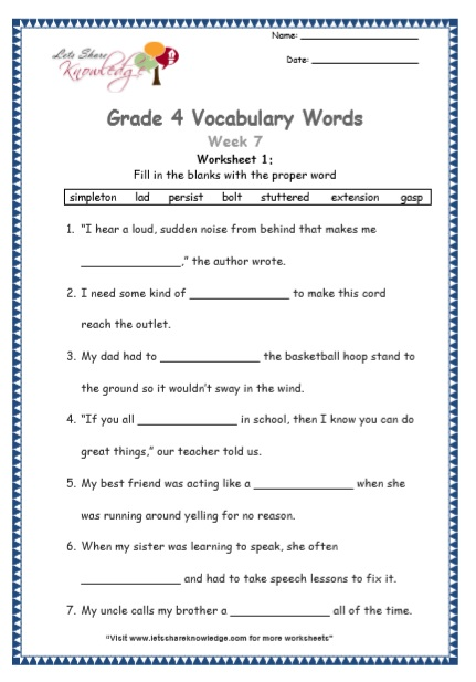 Grade 4: Vocabulary Worksheets Week 7 - Lets Share Knowledge