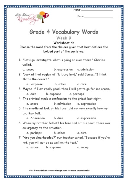 Grade 4: Vocabulary Worksheets Week 9 - Lets Share Knowledge