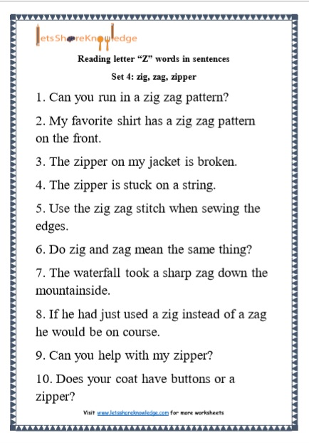 "Kindergarten Reading Practice for Letter ""Z"" Words in Sentences Printable Worksheets"