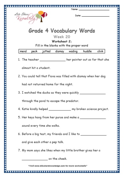 Grade 4: Vocabulary Worksheets Week 20