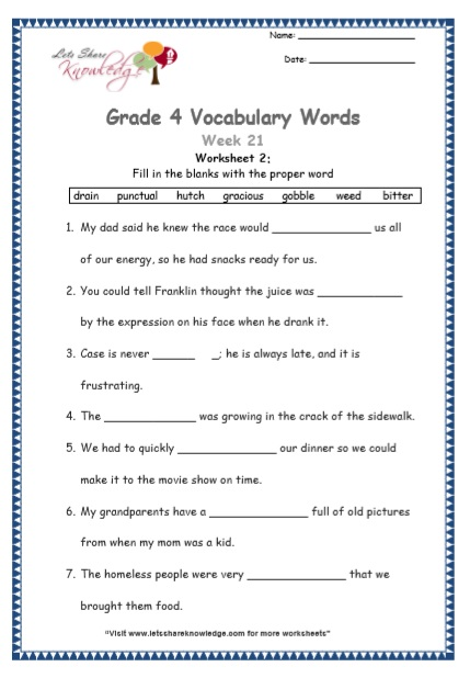 Grade 4: Vocabulary Worksheets Week 21