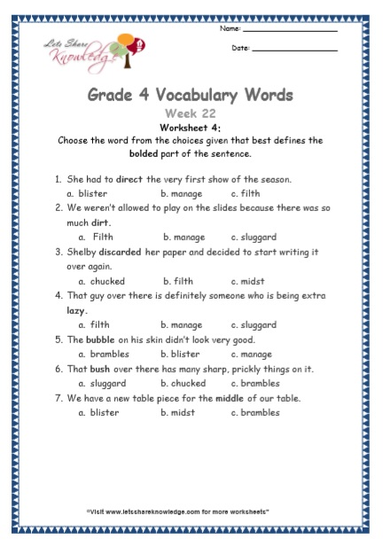 Grade 4: Vocabulary Worksheets Week 22