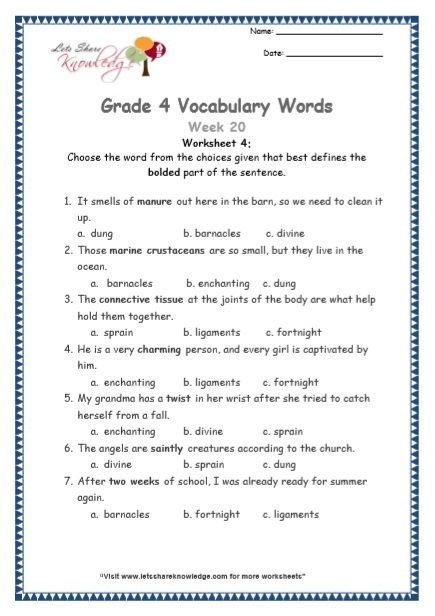 Grade 4: Vocabulary Worksheets Week 23
