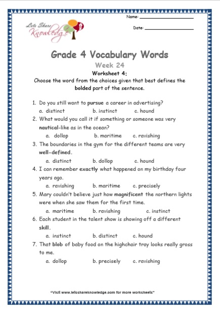 Grade 4: Vocabulary Worksheets Week 24
