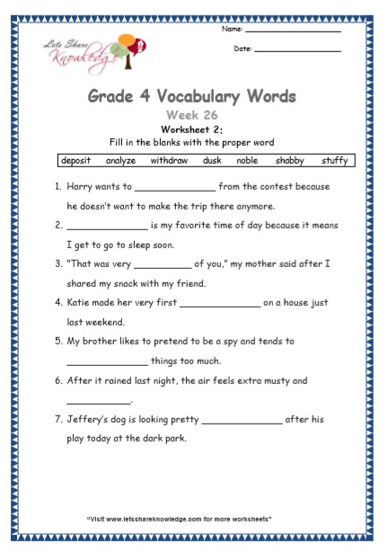 Grade 4: Vocabulary Worksheets Week 26