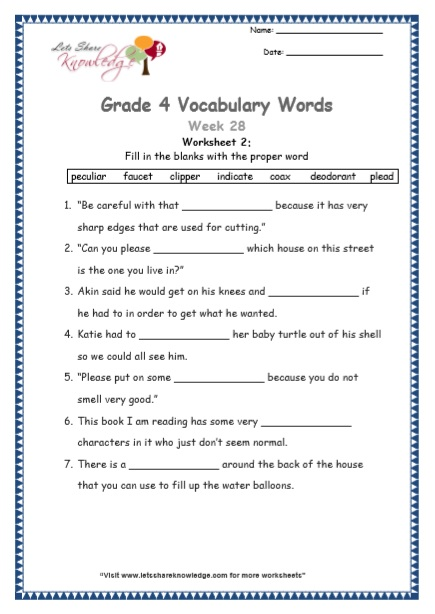 Grade 4: Vocabulary Worksheets Week 28