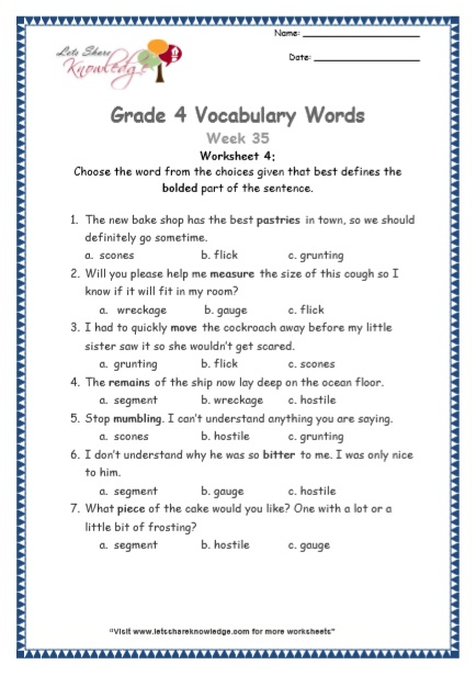 Grade 4: Vocabulary Worksheets Week 35