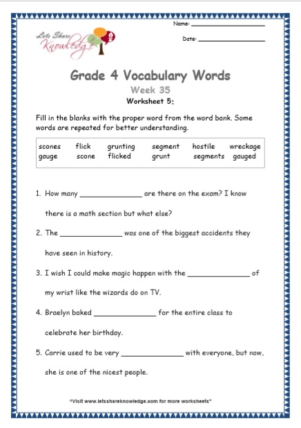 Grade 4: Vocabulary Worksheets Week 35 - Lets Share Knowledge