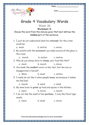 Grade 4: Vocabulary Worksheets Week 36