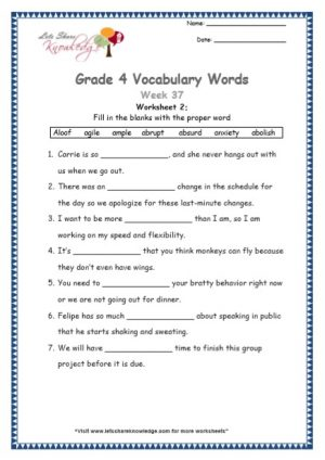 Grade 4: Vocabulary Worksheets Week 37