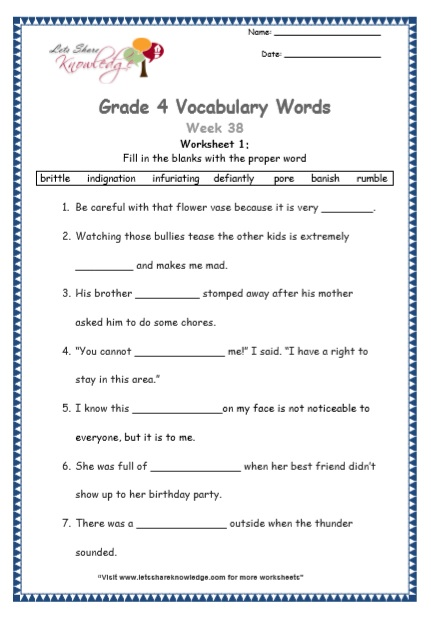 Grade 4: Vocabulary Worksheets Week 38
