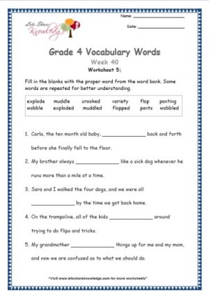 Grade 4: Vocabulary Worksheets Week 40