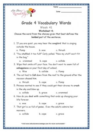 Grade 4: Vocabulary Worksheets Week 41