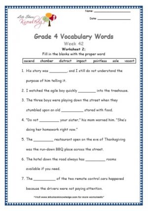 Grade 4: Vocabulary Worksheets Week 42