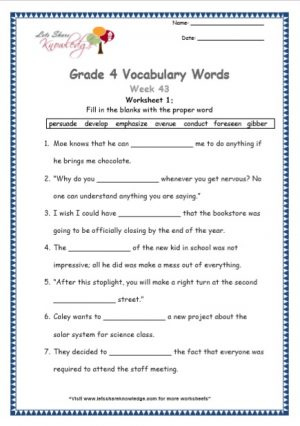 Grade 4: Vocabulary Worksheets Week 43