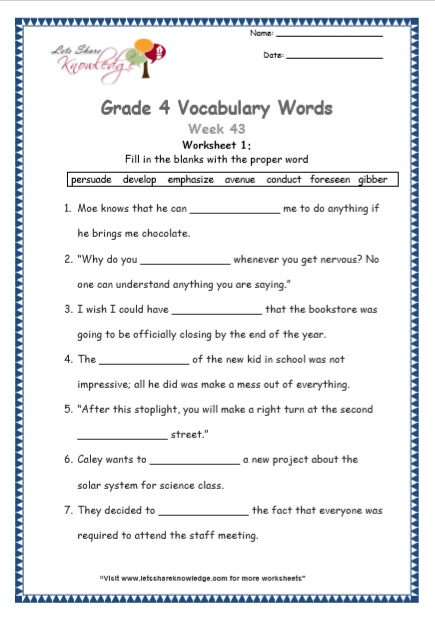 Grade 4: Vocabulary Worksheets Week 43 - Lets Share Knowledge