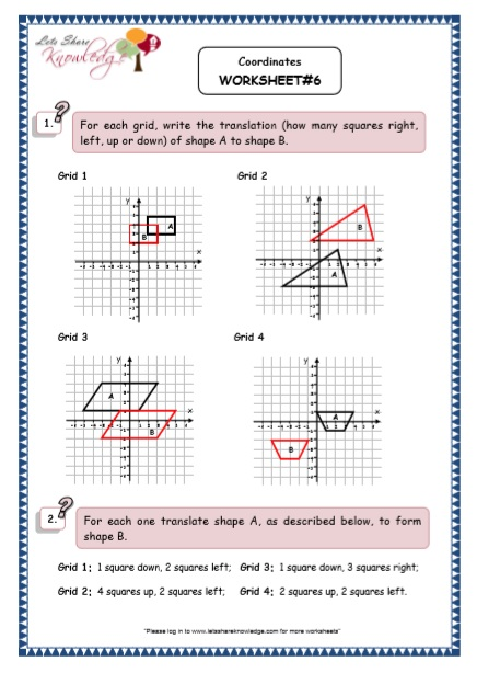 Grade 5 Maths Resources (Coordinates Printable Worksheets)