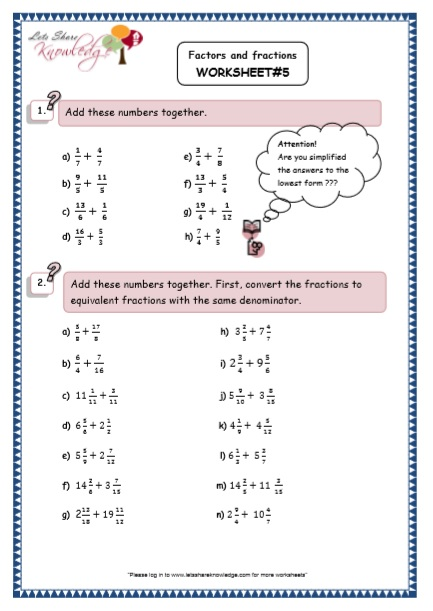 Grade 5 Maths Resources (Factors and Fractions Printable Worksheets)