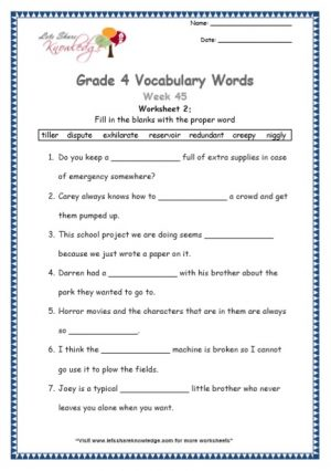 Grade 4: Vocabulary Worksheets Week 45