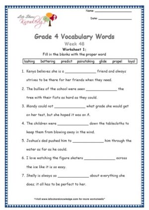 Grade 4: Vocabulary Worksheets Week 48