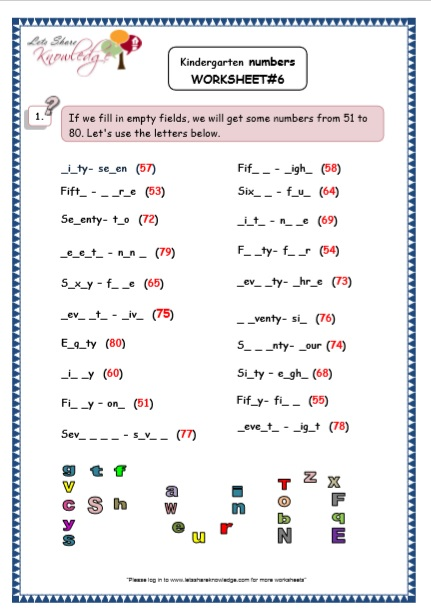 Kindergarten Number fill in the blanks Printable Worksheets