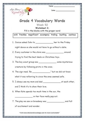 Grade 4: Vocabulary Worksheets Week 52