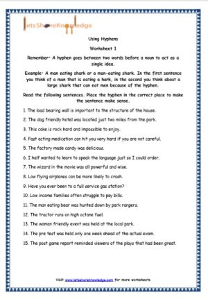 Grade 5 English Resources Printable Worksheets Topic: Hyphen