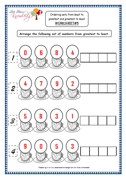 WORKSHEET#5 Arrange the following set of numbers from greatest to least.