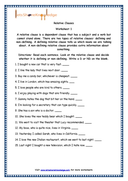 Grade 5 English Resources Printable Worksheets Topic: Relative Clauses