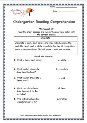kindergarten reading comprehension printable worksheets