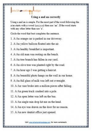 grade 1 a and an grammar printable worksheet