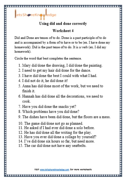 Grade 1 Grammar: Did And Done Printable Worksheets - Lets Share Knowledge