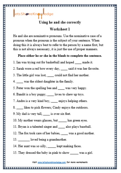 Grade 1 He and She grammar printable worksheet