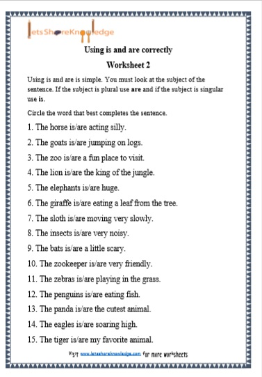 Grade 1 Grammar Is And Are Printable Worksheets Lets Share Knowledge