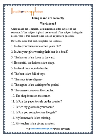 Grade 1 Is and Are grammar printable worksheet