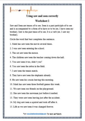 grade 1 saw and seen grammar printable worksheet