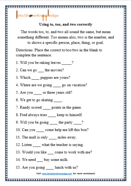 Grade 1 To, Too and Two grammar printable worksheet