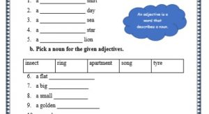 grade 1 adjectives grammar printable worksheets